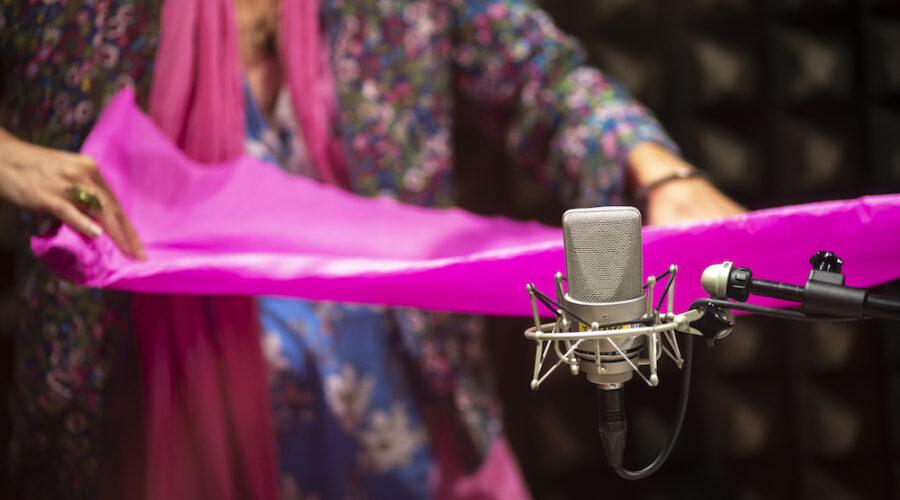 Na pierwszym planie jest radiowy mikrofon. Na drugim uwieczniono korpus kobiety trzymającej pomarszczoną bibułę. Materiał jest koloru różowego. Postać ubrana jest w wielokolorową tkaninę. Na palcach prawej dłoni ma założony pierścień.